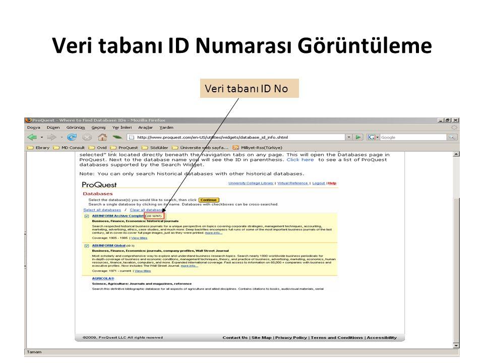 Veri tabanı ID Numarası Görüntüleme Veri tabanı ID No