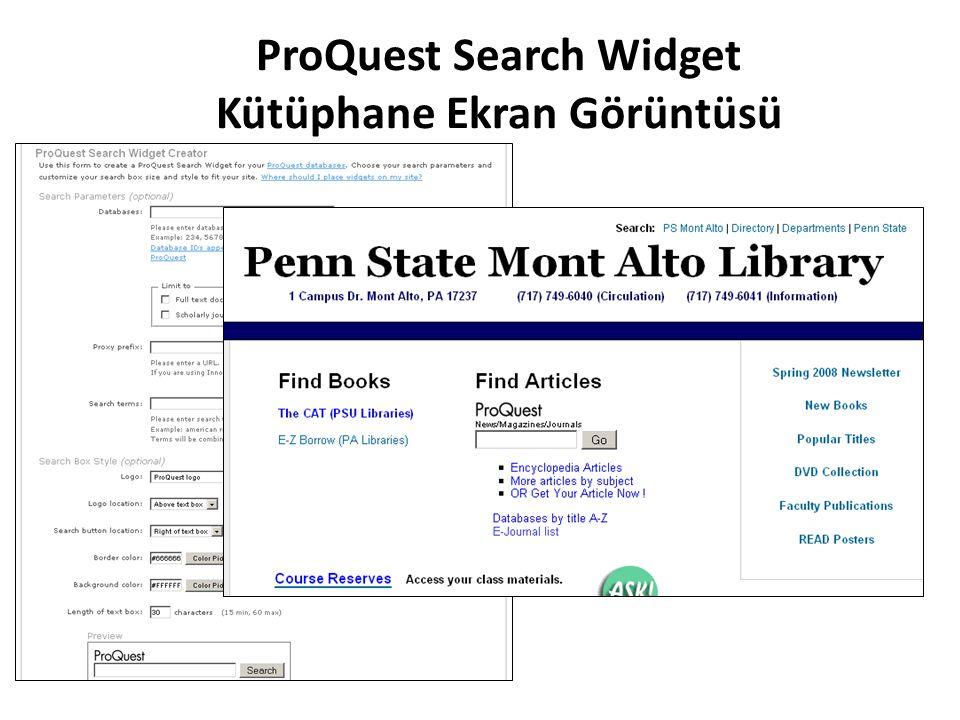 ProQuest Search Widget Kütüphane Ekran Görüntüsü
