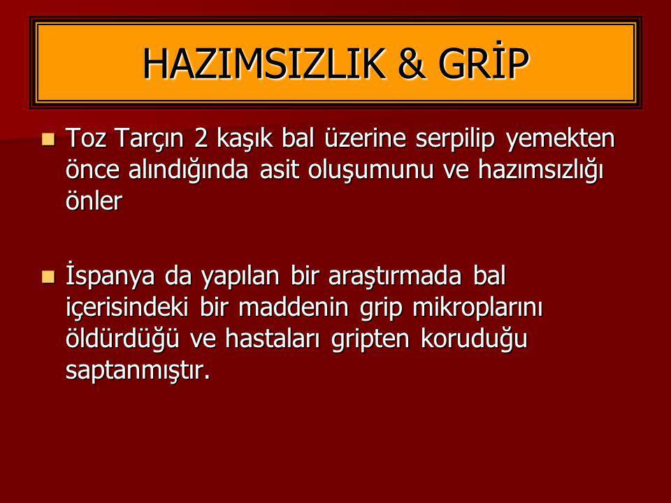 HAZIMSIZLIK & GRİP Toz Tarçın 2 kaşık bal üzerine serpilip yemekten önce alındığında asit oluşumunu ve hazımsızlığı önler Toz Tarçın 2 kaşık bal üzeri