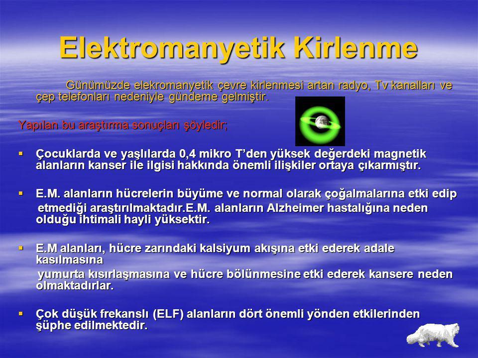 Elektromanyetik Kirlenme Günümüzde elekromanyetik çevre kirlenmesi artan radyo, Tv kanalları ve çep telefonları nedeniyle gündeme gelmiştir. Yapılan b