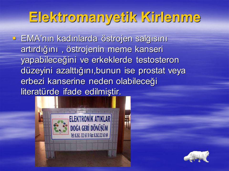 Elektromanyetik Kirlenme  EMA'nın kadınlarda östrojen salgısını artırdığını, östrojenin meme kanseri yapabileceğini ve erkeklerde testosteron düzeyin