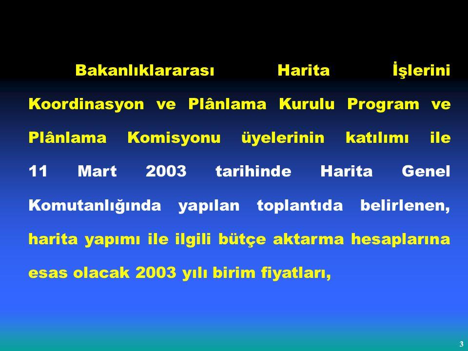 3 Bakanlıklararası Harita İşlerini Koordinasyon ve Plânlama Kurulu Program ve Plânlama Komisyonu üyelerinin katılımı ile 11 Mart 2003 tarihinde Harita Genel Komutanlığında yapılan toplantıda belirlenen, harita yapımı ile ilgili bütçe aktarma hesaplarına esas olacak 2003 yılı birim fiyatları,
