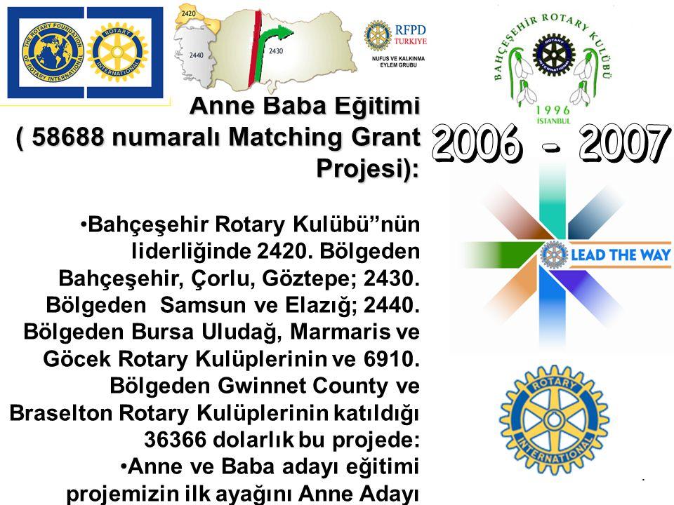 """Anne Baba Eğitimi ( 58688 numaralı Matching Grant Projesi): Bahçeşehir Rotary Kulübü""""nün liderliğinde 2420. Bölgeden Bahçeşehir, Çorlu, Göztepe; 2430."""
