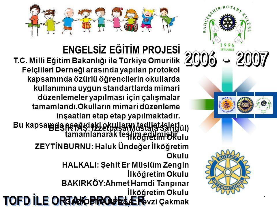 TOFD İLE ORTAK PROJELER ENGELSİZ EĞİTİM PROJESİ T.C. Milli Eğitim Bakanlığı ile Türkiye Omurilik Felçlileri Derneği arasında yapılan protokol kapsamın