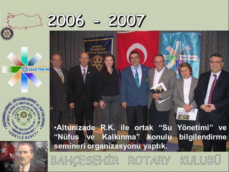 """Altunizade R.K. ile ortak """"Su Yönetimi"""" ve """"Nüfus ve Kalkınma"""" konulu bilgilendirme semineri organizasyonu yaptık."""