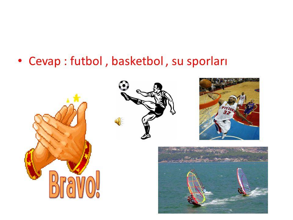 Cevap : futbol, basketbol, su sporları