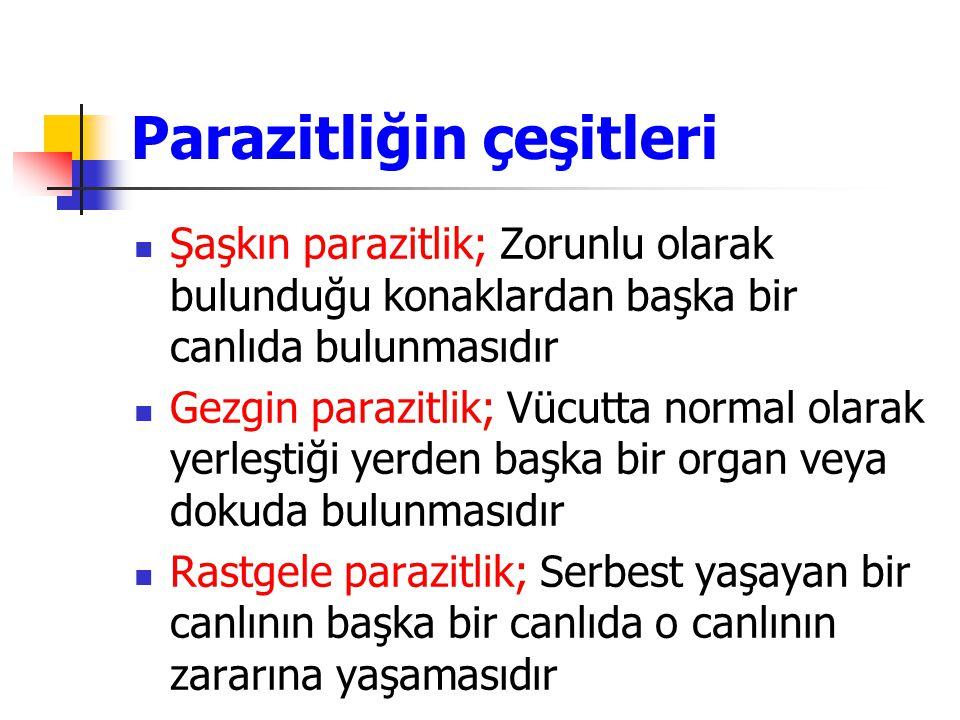 Parazitliğin çeşitleri Şaşkın parazitlik; Zorunlu olarak bulunduğu konaklardan başka bir canlıda bulunmasıdır Gezgin parazitlik; Vücutta normal olarak