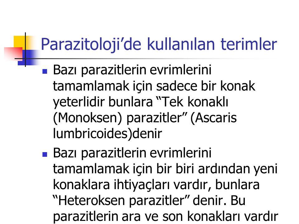 Parazitoloji'de kullanılan terimler Son konak; Parazitin üreme organlarının gelişmiş (erişkin) şeklinin yaşadığı konaktır Ara konak; Parazitin olgunlaşmamış (larva) şekillerini barındıran konaktır