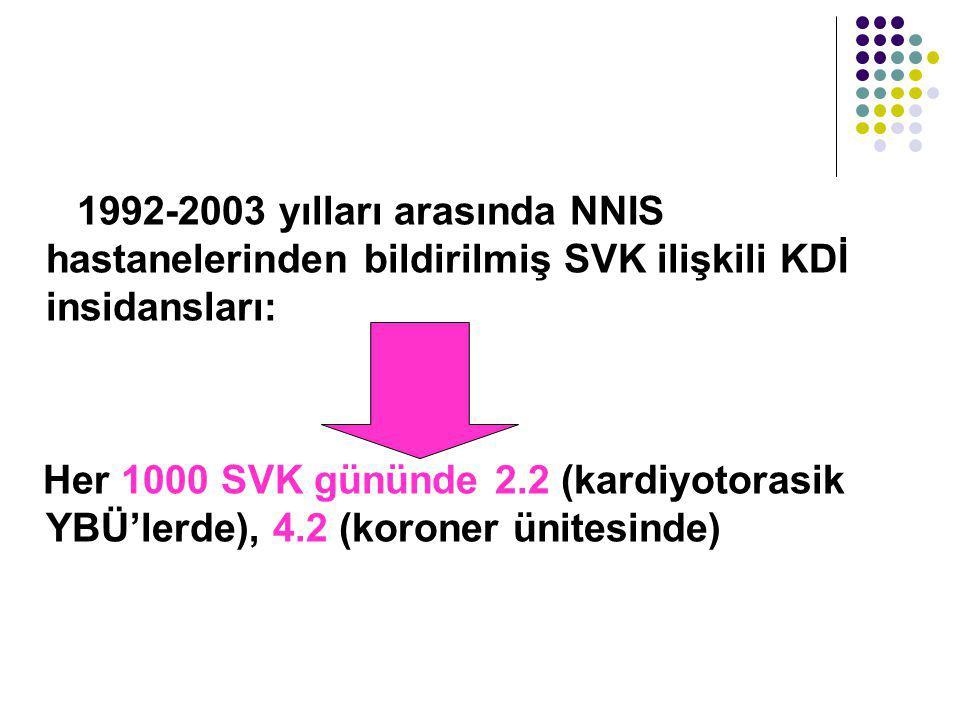 1992-2003 yılları arasında NNIS hastanelerinden bildirilmiş SVK ilişkili KDİ insidansları: Her 1000 SVK gününde 2.2 (kardiyotorasik YBÜ'lerde), 4.2 (koroner ünitesinde)