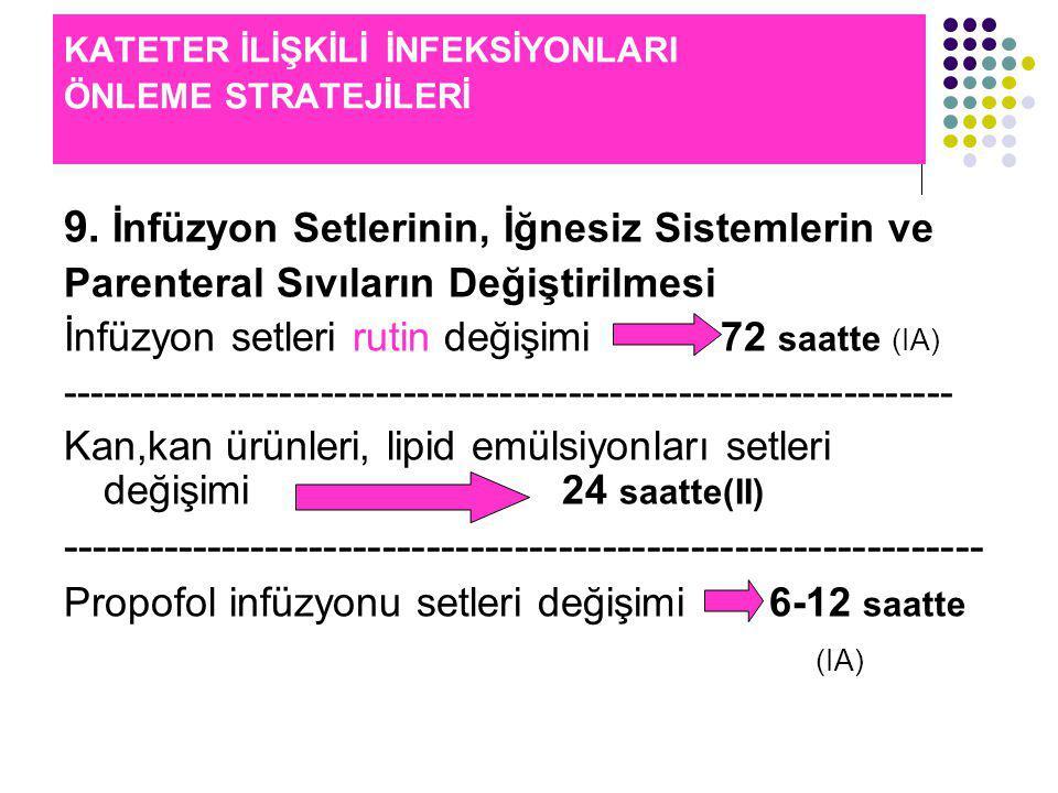 KATETER İLİŞKİLİ İNFEKSİYONLARI ÖNLEME STRATEJİLERİ 9.