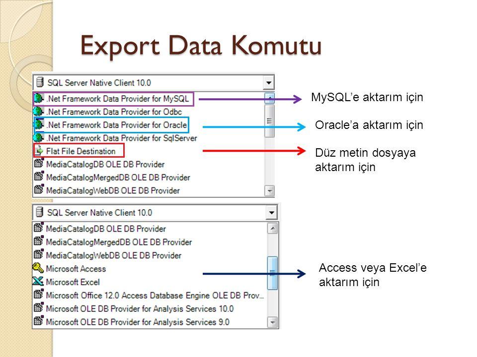Export Data Komutu MySQL'e aktarım için Oracle'a aktarım için Düz metin dosyaya aktarım için Access veya Excel'e aktarım için