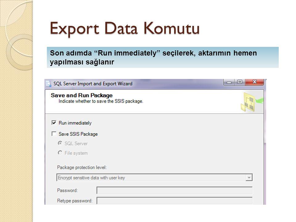 """Export Data Komutu Son adımda """"Run immediately"""" seçilerek, aktarımın hemen yapılması sağlanır"""
