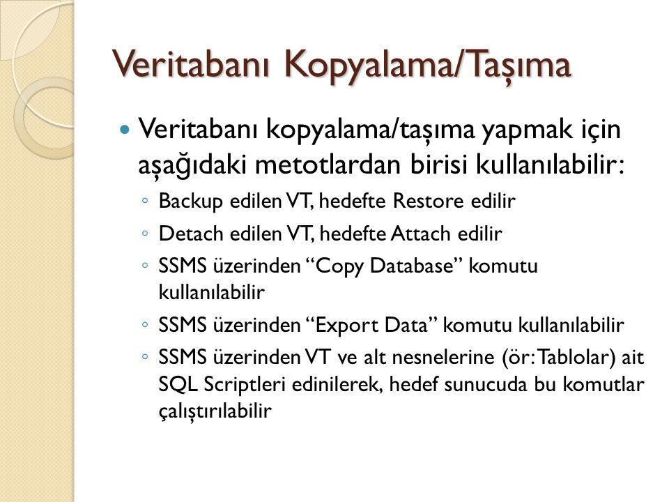 Detach/Attach işlemi Bir MDF ve LDF dosyasından oluşan veritabanı, VTYS sistemine ba ğ lı iken sistem dosyaların taşınmasına izin vermez Bu durumda dosyalar önce sistemden Detach ile ayrılmalı, daha sonra tekrar istenen başka bir sunucuda Attach edilmelidir