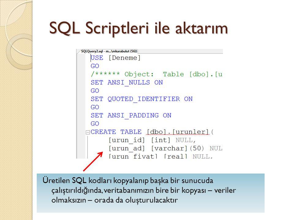 SQL Scriptleri ile aktarım Üretilen SQL kodları kopyalanıp başka bir sunucuda çalıştırıldı ğ ında, veritabanımızın bire bir kopyası – veriler olmaksız