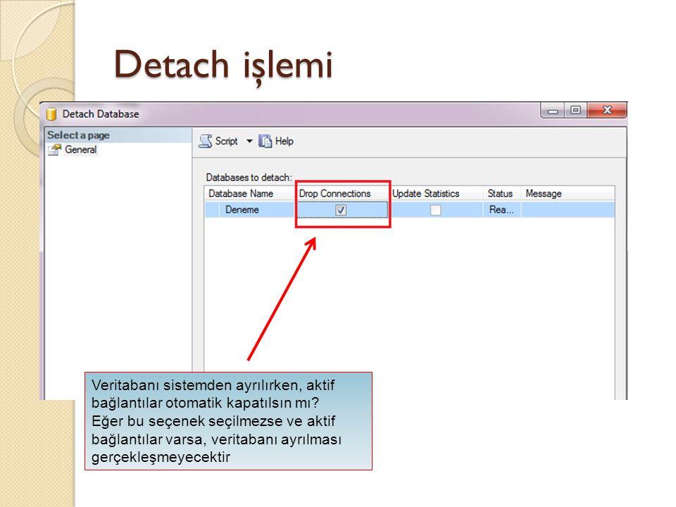 Attach işlemi Sistemden ayrılan veritabanına ait MDF ve LDF dosyasının yeri gösterilecek, istenen herhangi bir SQL Server sunucusuna tanıtılabilir.