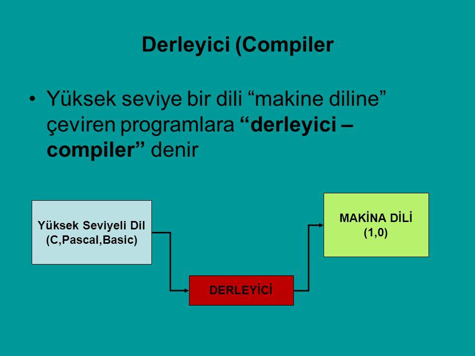 """Derleyici (Compiler Yüksek seviye bir dili """"makine diline"""" çeviren programlara """"derleyici – compiler"""" denir DERLEYİCİ MAKİNA DİLİ (1,0) Yüksek Seviyel"""