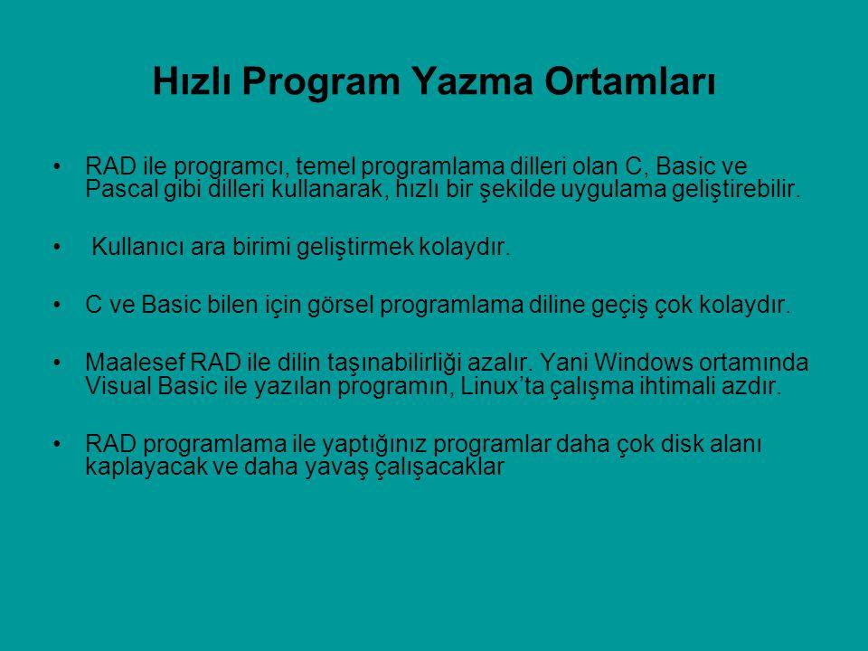 Hızlı Program Yazma Ortamları RAD ile programcı, temel programlama dilleri olan C, Basic ve Pascal gibi dilleri kullanarak, hızlı bir şekilde uygulama