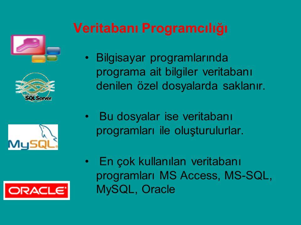 Veritabanı Programcılığı Bilgisayar programlarında programa ait bilgiler veritabanı denilen özel dosyalarda saklanır. Bu dosyalar ise veritabanı progr