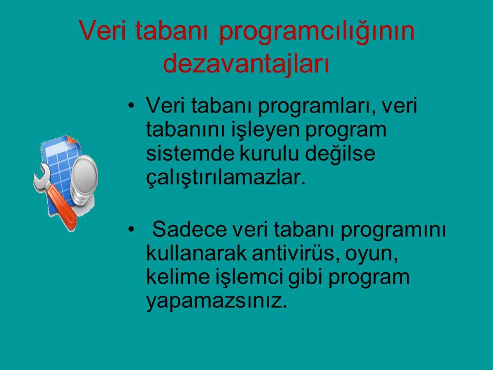 Veri tabanı programcılığının dezavantajları Veri tabanı programları, veri tabanını işleyen program sistemde kurulu değilse çalıştırılamazlar. Sadece v