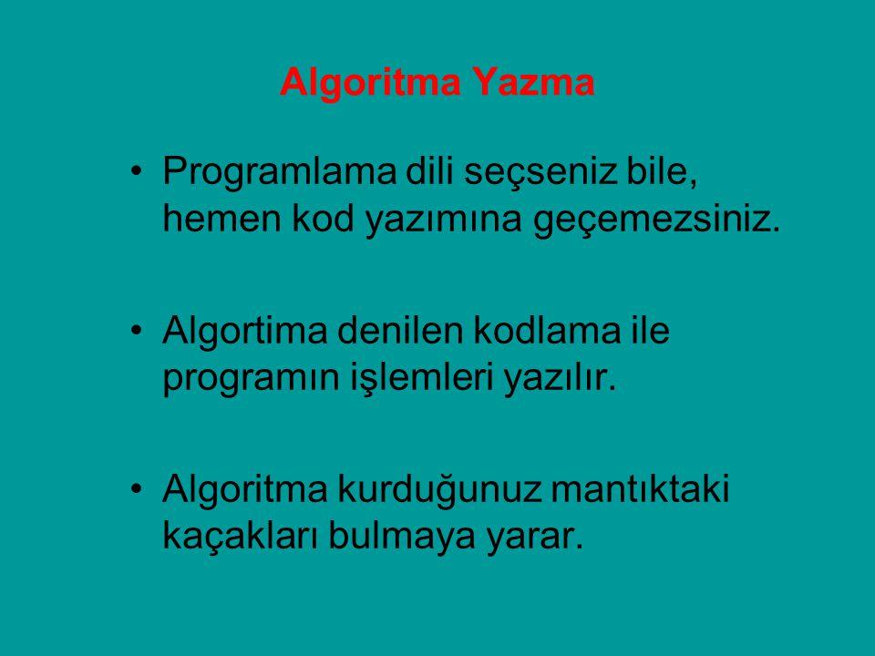 Algoritma Yazma Programlama dili seçseniz bile, hemen kod yazımına geçemezsiniz. Algortima denilen kodlama ile programın işlemleri yazılır. Algoritma