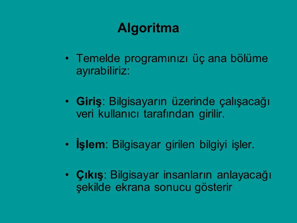 Algoritma Temelde programınızı üç ana bölüme ayırabiliriz: Giriş: Bilgisayarın üzerinde çalışacağı veri kullanıcı tarafından girilir. İşlem: Bilgisaya