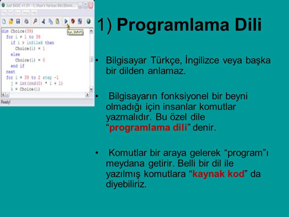 1) Programlama Dili Bilgisayar Türkçe, İngilizce veya başka bir dilden anlamaz. Bilgisayarın fonksiyonel bir beyni olmadığı için insanlar komutlar yaz