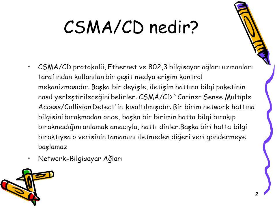 2 CSMA/CD protokolü, Ethernet ve 802,3 bilgisayar ağları uzmanları tarafından kullanılan bir çeşit medya erişim kontrol mekanizmasıdır. Başka bir deyi