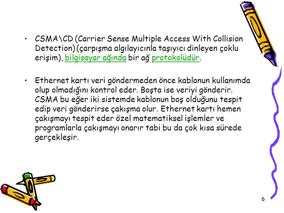 6 CSMA\CD (Carrier Sense Multiple Access With Collision Detection) (çarpışma algılayıcınla taşıyıcı dinleyen çoklu erişim), bilgisayar ağında bir ağ protokolüdür.bilgisayar ağındaprotokolüdür Ethernet kartı veri göndermeden önce kablonun kullanımda olup olmadığını kontrol eder.