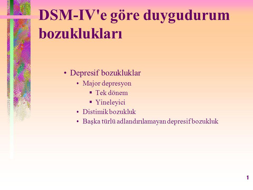 2 DSM-IV e göre duygudurum bozuklukları (devam) Bipolar bozukluklar  Bipolar I bozukluğu  Bipolar II bozukluğu  Siklotimik bozukluk  Başka türlü adlandırılamayan bipolar bozukluklar  Genel tıbbi duruma ve madde kullanımına bağlı duygudurum bozuklukları  Başka türlü adlandırılamayan duygudurum bozukluğu