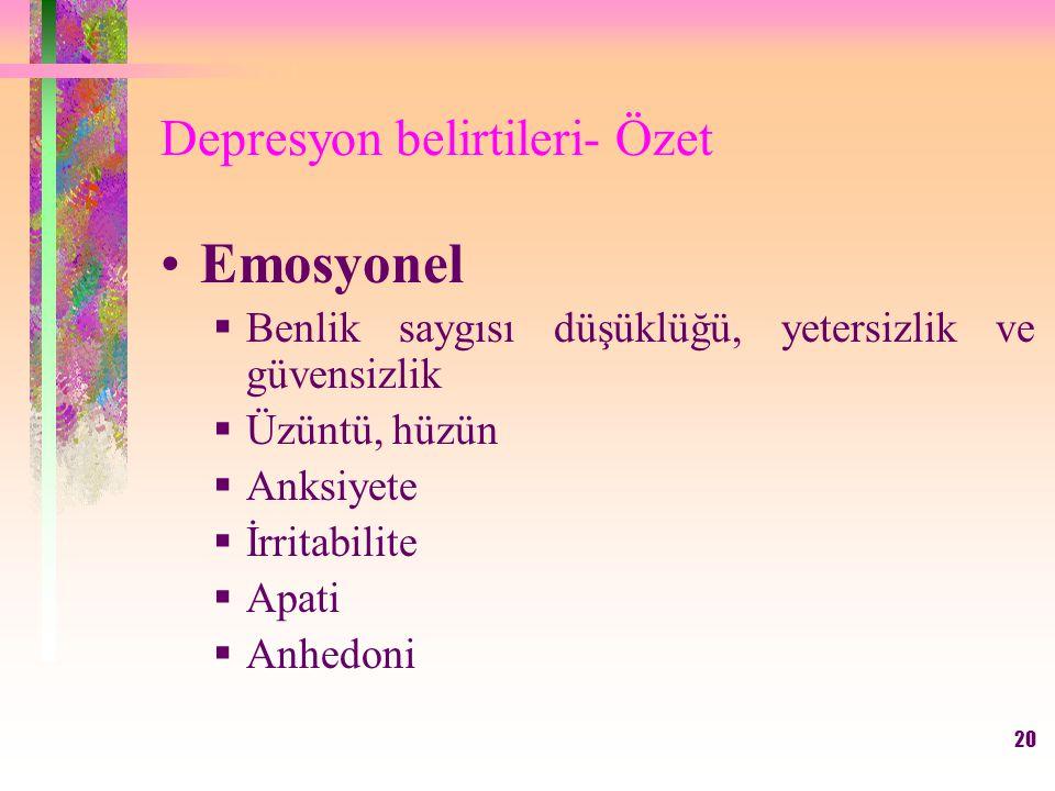20 Depresyon belirtileri- Özet Emosyonel  Benlik saygısı düşüklüğü, yetersizlik ve güvensizlik  Üzüntü, hüzün  Anksiyete  İrritabilite  Apati  Anhedoni
