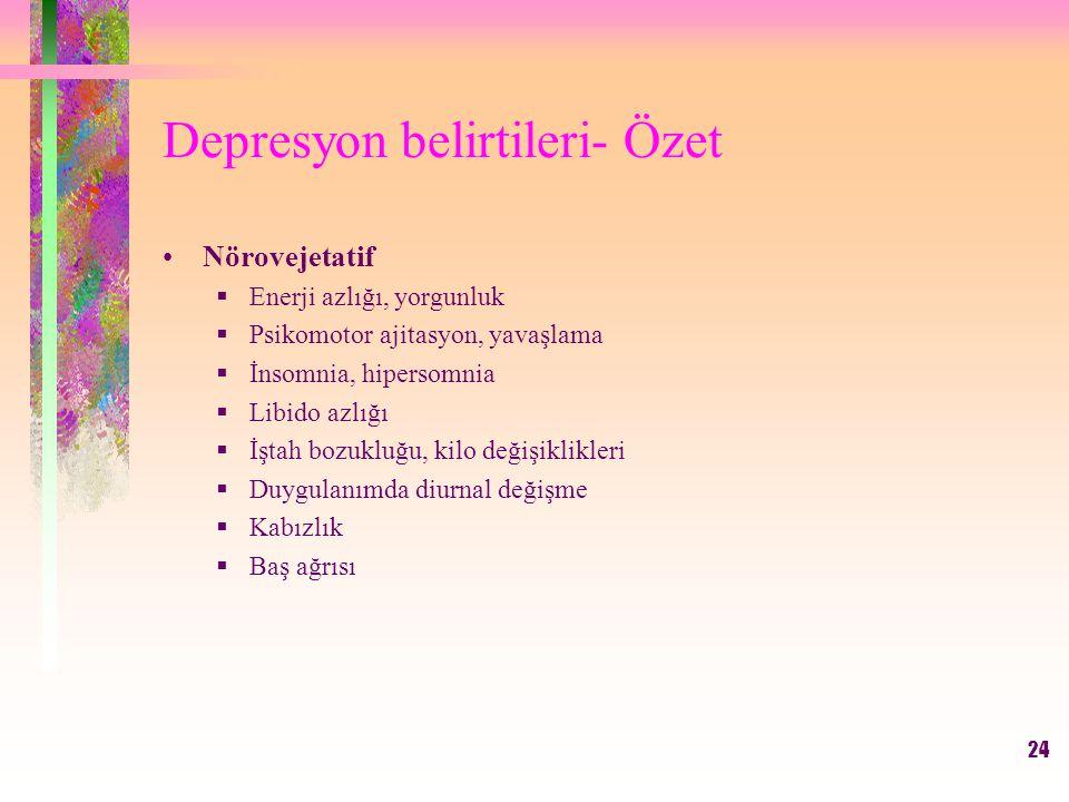 24 Depresyon belirtileri- Özet Nörovejetatif  Enerji azlığı, yorgunluk  Psikomotor ajitasyon, yavaşlama  İnsomnia, hipersomnia  Libido azlığı  İştah bozukluğu, kilo değişiklikleri  Duygulanımda diurnal değişme  Kabızlık  Baş ağrısı