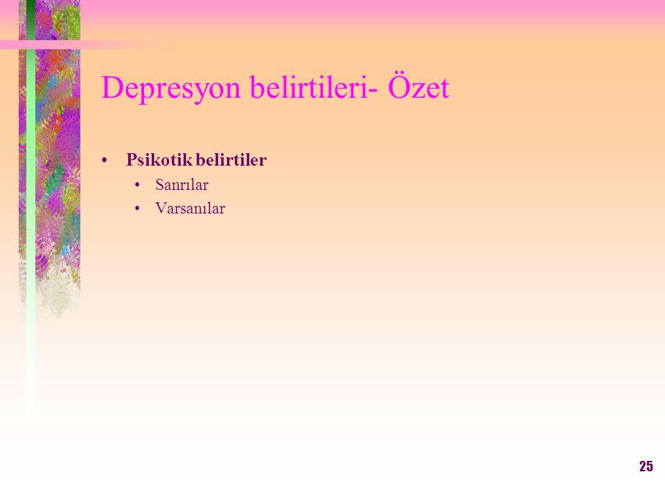 25 Depresyon belirtileri- Özet Psikotik belirtiler Sanrılar Varsanılar