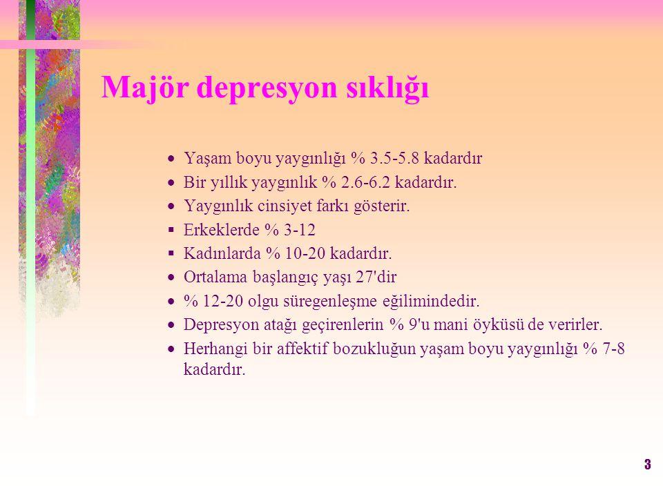 3 Majör depresyon sıklığı  Yaşam boyu yaygınlığı % 3.5-5.8 kadardır  Bir yıllık yaygınlık % 2.6-6.2 kadardır.