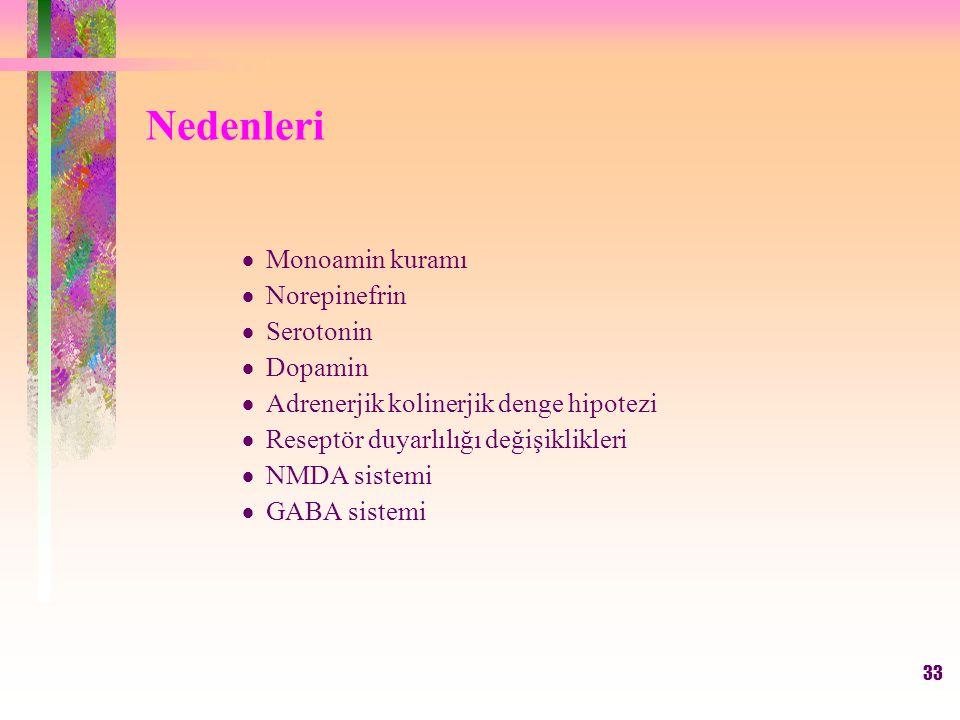 33 Nedenleri  Monoamin kuramı  Norepinefrin  Serotonin  Dopamin  Adrenerjik kolinerjik denge hipotezi  Reseptör duyarlılığı değişiklikleri  NMDA sistemi  GABA sistemi