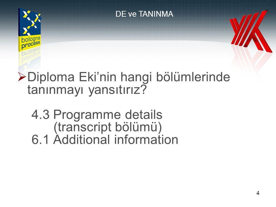 4  Diploma Eki'nin hangi bölümlerinde tanınmayı yansıtırız.