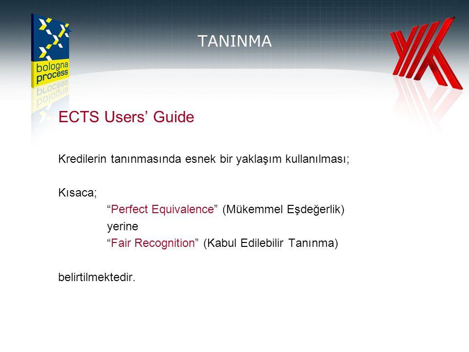 TANINMA ECTS Users' Guide Kredilerin tanınmasında esnek bir yaklaşım kullanılması; Kısaca; Perfect Equivalence (Mükemmel Eşdeğerlik) yerine Fair Recognition (Kabul Edilebilir Tanınma) belirtilmektedir.