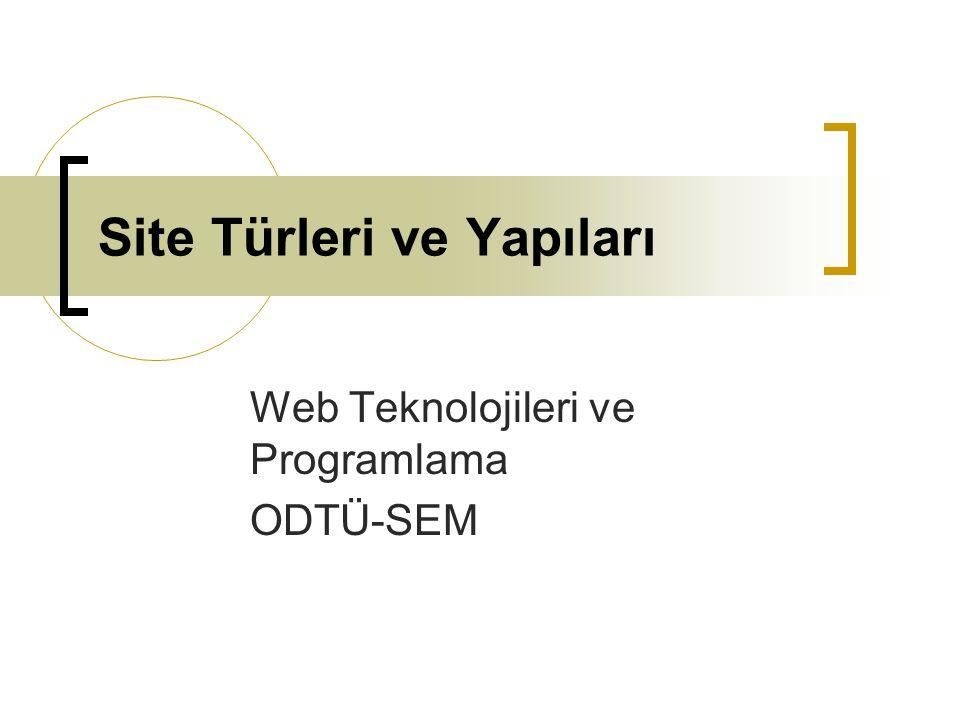Site Türleri Halka açık Web Siteleri: Belirli bir sınıfın erişimine kapalı olmayan İnternet sayfalarıdır.