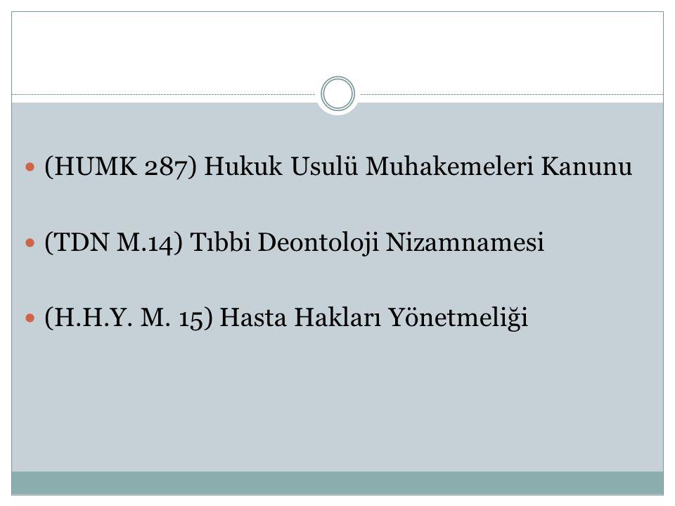 (HUMK 287) Hukuk Usulü Muhakemeleri Kanunu (TDN M.14) Tıbbi Deontoloji Nizamnamesi (H.H.Y.