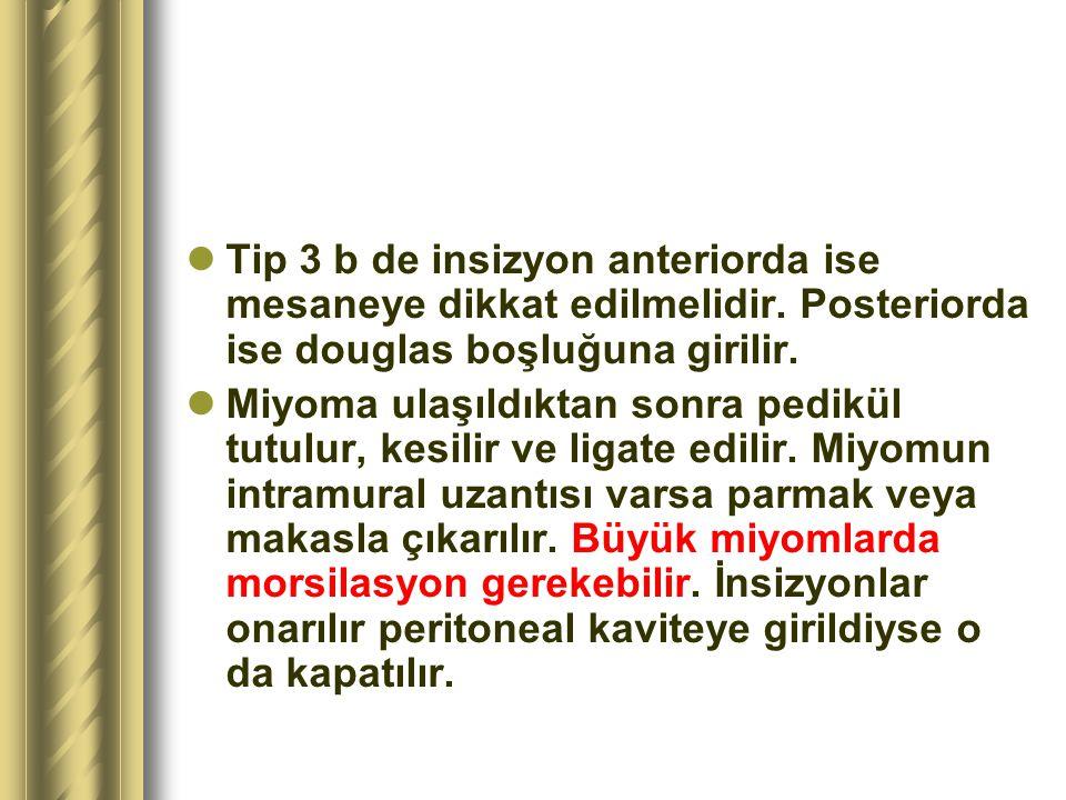 Tip 3 b de insizyon anteriorda ise mesaneye dikkat edilmelidir. Posteriorda ise douglas boşluğuna girilir. Miyoma ulaşıldıktan sonra pedikül tutulur,