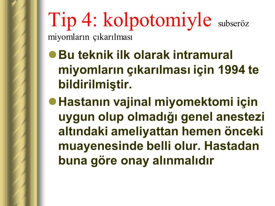 Tip 4: kolpotomiyle subseröz miyomların çıkarılması Bu teknik ilk olarak intramural miyomların çıkarılması için 1994 te bildirilmiştir. Hastanın vajin