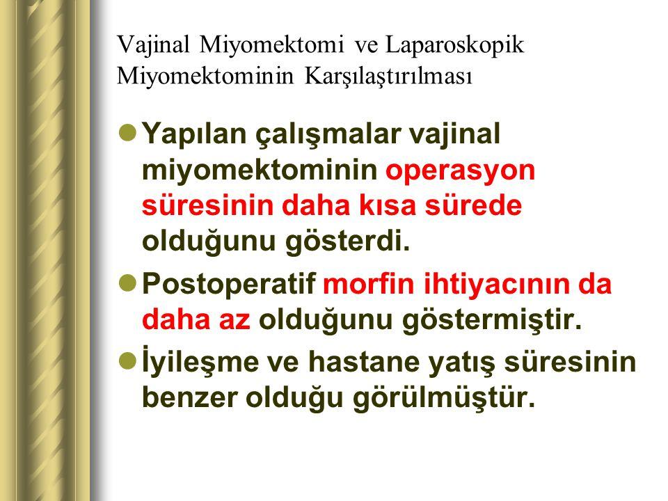 Vajinal Miyomektomi ve Laparoskopik Miyomektominin Karşılaştırılması Yapılan çalışmalar vajinal miyomektominin operasyon süresinin daha kısa sürede ol