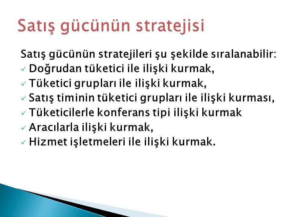 Satış gücünün stratejileri şu şekilde sıralanabilir: Doğrudan tüketici ile ilişki kurmak, Tüketici grupları ile ilişki kurmak, Satış timinin tüketici