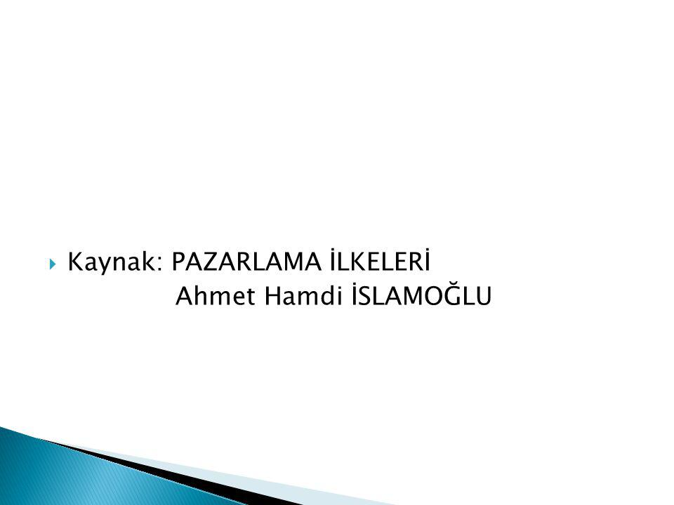  Kaynak: PAZARLAMA İLKELERİ Ahmet Hamdi İSLAMOĞLU