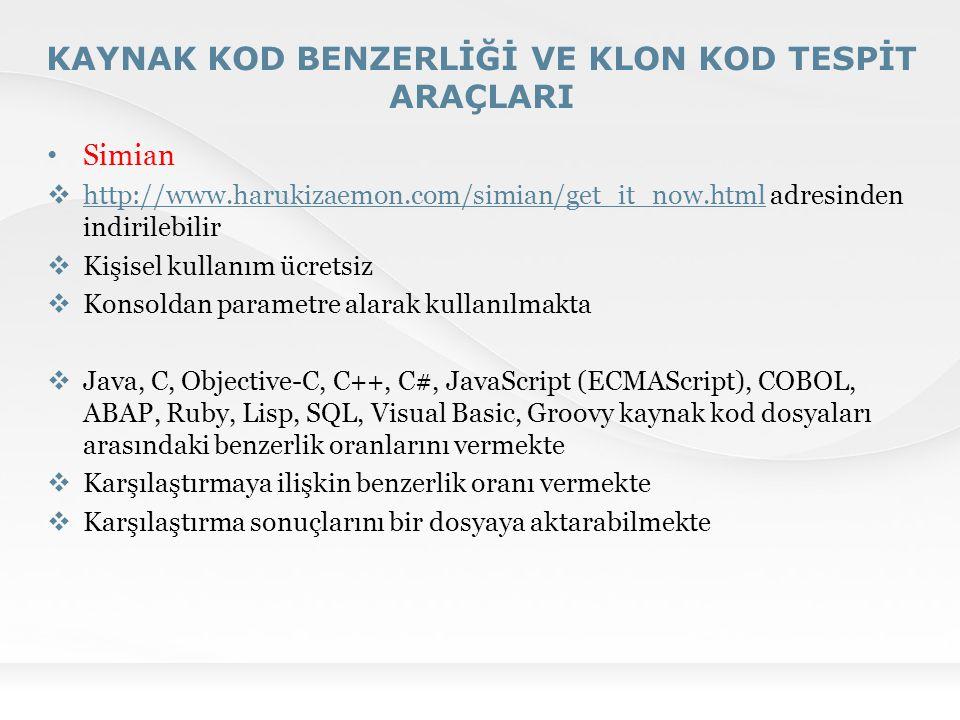 KAYNAK KOD BENZERLİĞİ VE KLON KOD TESPİT ARAÇLARI Simian  http://www.harukizaemon.com/simian/get_it_now.html adresinden indirilebilir http://www.haru