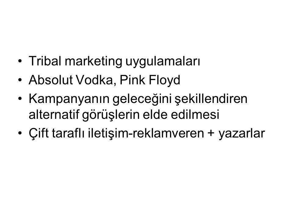Tribal marketing uygulamaları Absolut Vodka, Pink Floyd Kampanyanın geleceğini şekillendiren alternatif görüşlerin elde edilmesi Çift taraflı iletişim