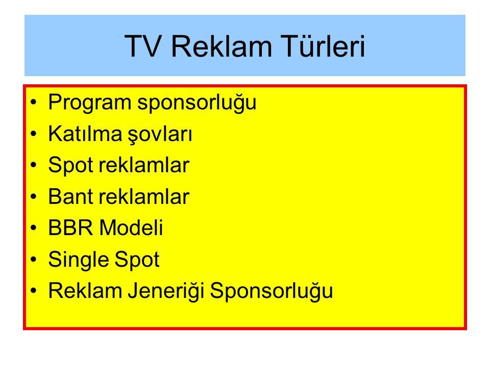 TV Reklam Türleri Program sponsorluğu Katılma şovları Spot reklamlar Bant reklamlar BBR Modeli Single Spot Reklam Jeneriği Sponsorluğu
