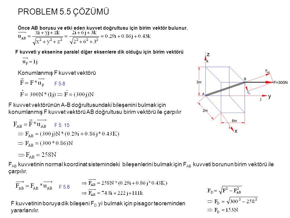 PROBLEM 5.5 ÇÖZÜMÜ Önce AB borusu ve etki eden kuvvet doğrultusu için birim vektör bulunur. F AB kuvvetinin normal koordinat sistemindeki bileşenlerin