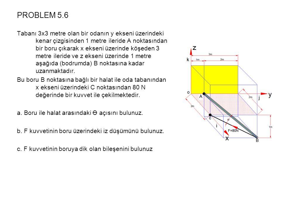 PROBLEM 5.6 Tabanı 3x3 metre olan bir odanın y ekseni üzerindeki kenar çizgisinden 1 metre ileride A noktasından bir boru çıkarak x ekseni üzerinde köşeden 3 metre ileride ve z ekseni üzerinde 1 metre aşağıda (bodrumda) B noktasına kadar uzanmaktadır.