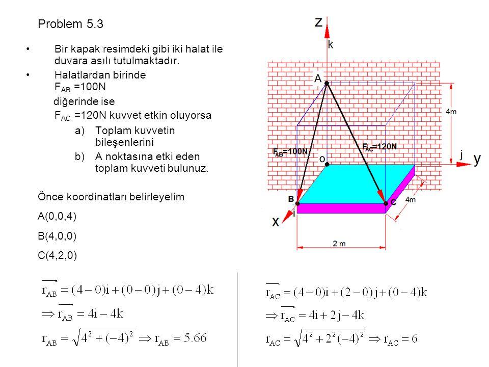 Bir kapak resimdeki gibi iki halat ile duvara asılı tutulmaktadır. Halatlardan birinde F AB =100N diğerinde ise F AC =120N kuvvet etkin oluyorsa a)Top