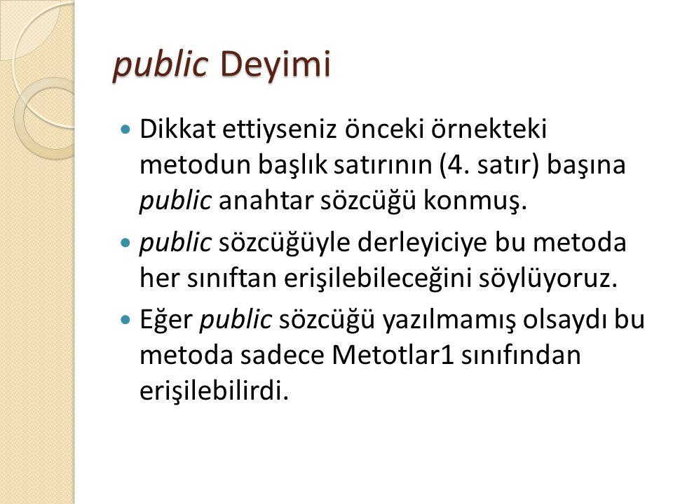 public Deyimi Dikkat ettiyseniz önceki örnekteki metodun başlık satırının (4. satır) başına public anahtar sözcüğü konmuş. public sözcüğüyle derleyici